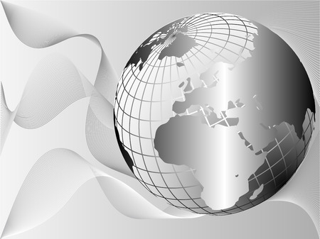 wire mesh: A silver metallic earth globe on a lighter background with flowing waves