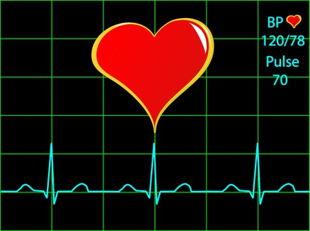 A healthy heart illustration with a cardiac trace showing normal sinus rhythm, blood pressure and pulse Stock Vector - 7006161