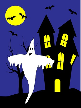 A halloween illustration with a happy ghost in front of a haunted house Stock Vector - 7006077