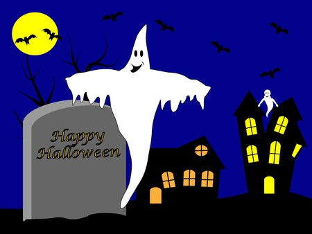 A halloween illustration with a happy ghost in front of a haunted house Stock Vector - 7006111