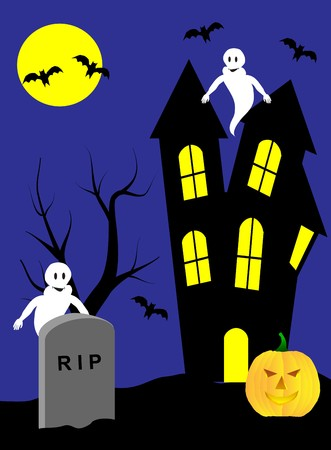 A halloween illustration with a haunted house and ghosts Stock Vector - 7006108