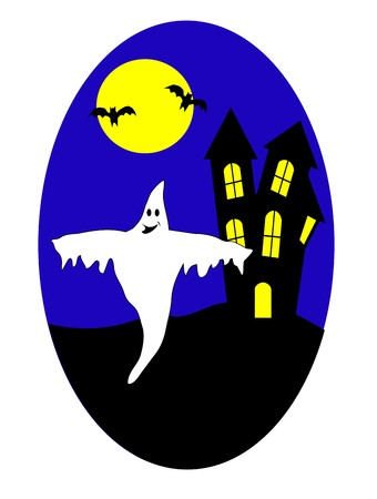 A halloween illustration with a haunted house and ghosts Vector