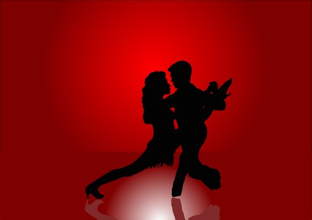 Latin American Dancers in Silhouette Vector