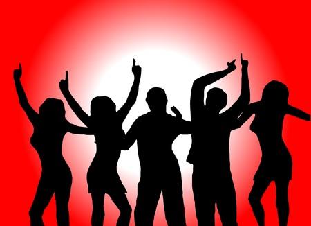 Markieren Sie die Abbildung der Tänzer in Silhouette vor einem roten Hintergrund mit center