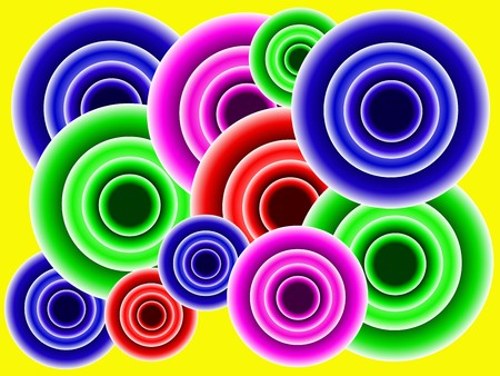 An abstract retro background with multi colored cirles on a yellow base