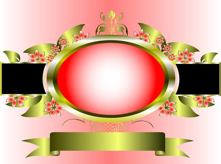 a gold floral frame on a pink graduated background with room for text Stock Vector - 7006199