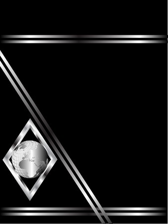 black and silver: A black and Silver Business card or Background Template with a silver globe in a diamond