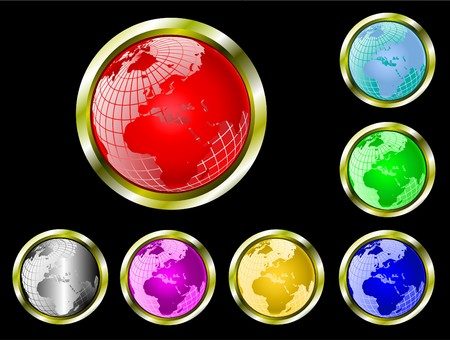 A set of seven wire mesh earth globe web buttons Vector