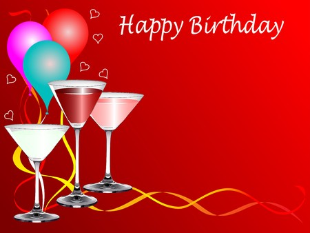 party poppers: A birthday party template with drinks glasses and balloons on a red background with room for text Illustration