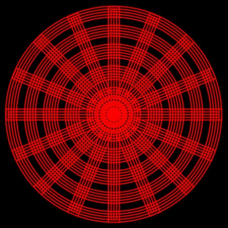 spokes: An abstract circular pattern with interlaced red circles and spokes on a black background