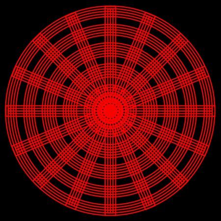 spokes: Un patr�n circular abstracto con c�rculos rojos entrelazados y radios sobre un fondo negro
