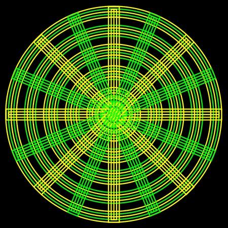 Un motif circulaire abstrait avec cercles jaunes et verts entrelacés et rayons sur fond noir Vecteurs