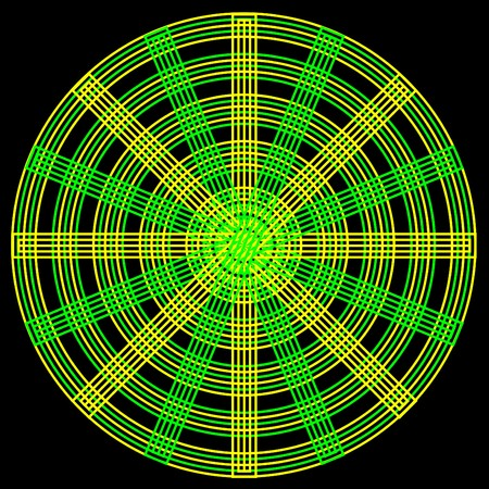 spokes: Un patr�n circular abstracto con c�rculos entrelazados de amarillos y verdes y radios sobre un fondo negro