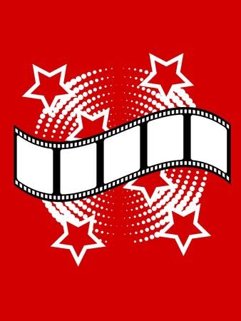 Fotografische illustratie met film stripon een rode achtergrond met witte sterren Vector Illustratie