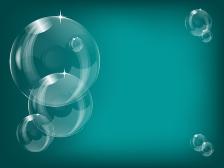 Transparent soap bubbles background illustration with a series of bubbles on a teal background Vector
