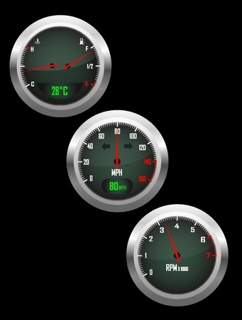 a set of three car dials with speedometer,rev counter and petrol and temperature gauge Vector