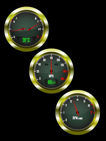 miles: a set of three car dials with speedometer,rev counter and petrol and temperature gauge