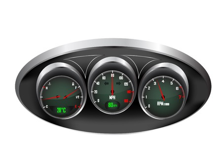 a set of three car dials with speedometer,rev counter and petrol and temperature gauge Stock Vector - 7016684