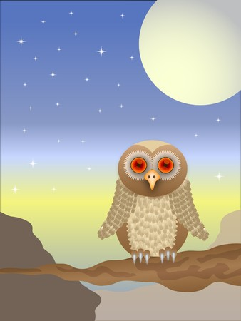 An owl illustration with a brown owl with red eyes sitting on a branch at sunset