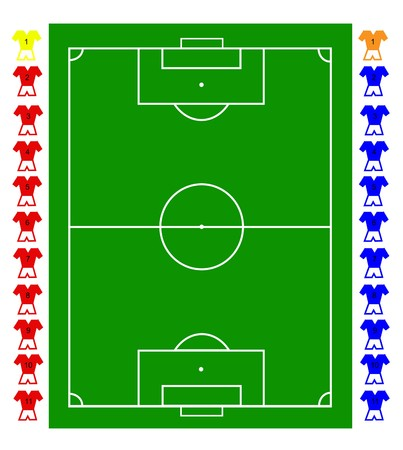 A football, soccer pitch tactical with two teams of footballers. All elements are fully resizable to any dimension without loss of quality