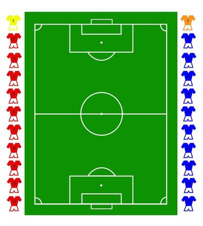 Een voetbal, voetbalveld tactische met twee teams van voetballers. Alle elementen zijn volledig resizable voor elke dimensie zonder verlies van kwaliteit