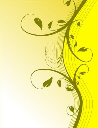 rown: A yellow floral background illustration in portrait orientation with room for copy
