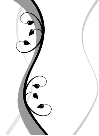 A black and white abstract floral background illustration with a winding black and grey floral design on a white background