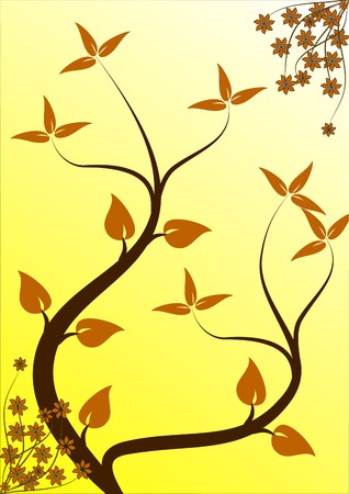 balck: An abstract floral design with japanese style  trees on a yellow backdrop with room for text  Illustration