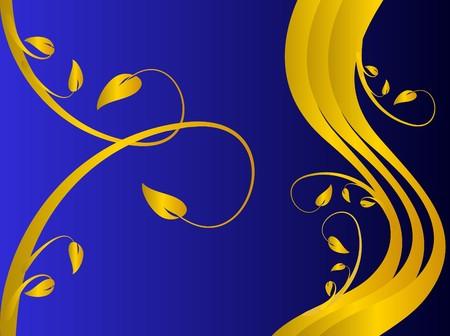 formal blue: A formal floral background with a gold formal floral design on a darker blue background. Room for text Illustration