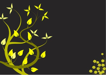 balck: An abstract floral design with japanese style yellow trees on a black backdrop  Illustration