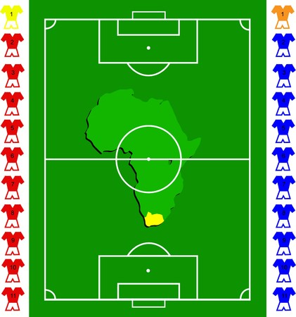 cleats: A soccer or football tactical vector  exact scale pitch with amap of africa in the centre Illustration