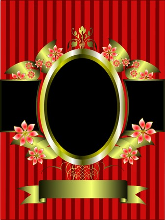 a gold floral frame on a classic red striped  background with room for text Vector
