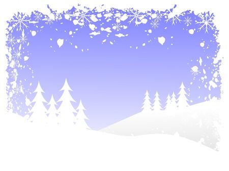 accidentado: Grunge abstracta invierno vector escena del fondo con �rboles de Navidad cubierto de nieve en un paisaje monta�oso.  Vectores
