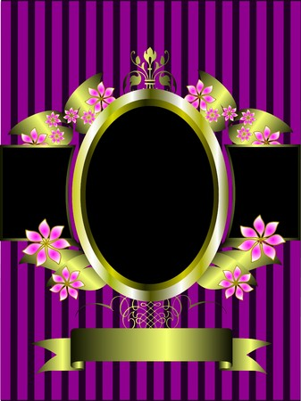 mauve: a gold floral frame on a classic purple striped  background with room for text Illustration