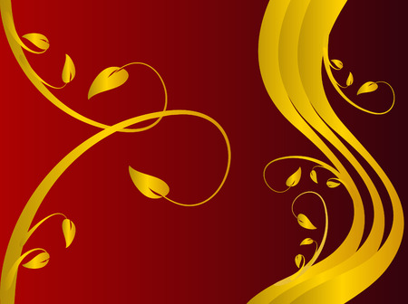 maroon background: A red formal floral background with a gold floral design on a dark red background . Room for text