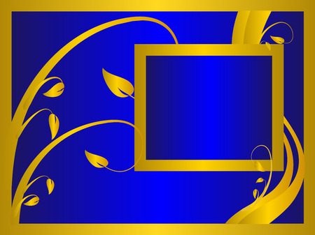 A blue formal floral background   with a gold floral design on a royal blue background . Room for text