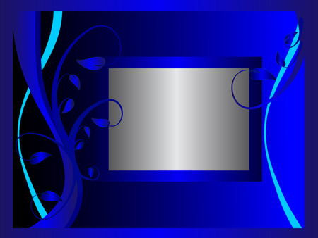 formal blue: A blue formal floral background   with a frame for text .