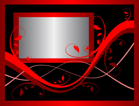 A red formal floral background incorporating a silver frame on a black background . Room for text Vector