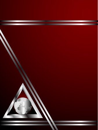 A deep red and Silver Business card or Background Template with a world globe enclosed by a silver triangle Vector