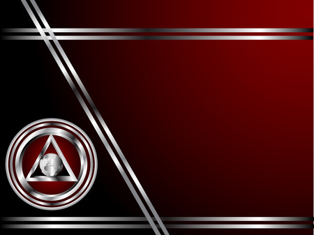 enclosed: A deep red and Silver Business card or Background Template with a world globe enclosed by a silver triangle