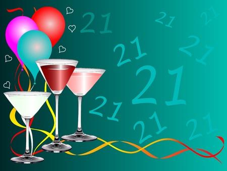 20: Una plantilla de fondo de parte de vig�simo primer cumplea�os con globos y anteojos de bebidas