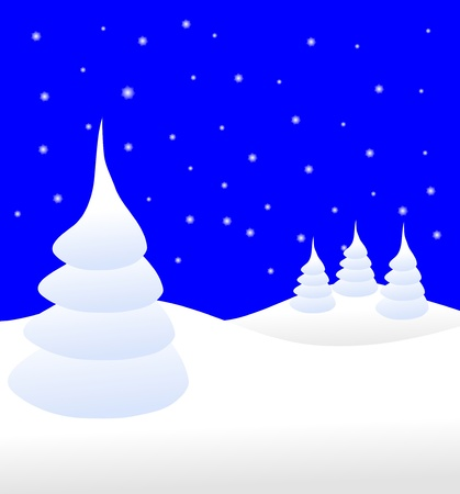 A winter background illustration with a large snow covered christmas tree on snowy hills with a blue starry evening sky with room for text