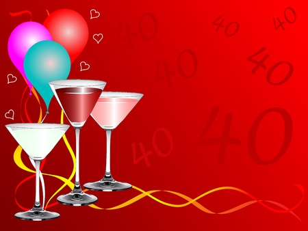 A fortieth birthday party background template with drinks glasses and balloons Vector