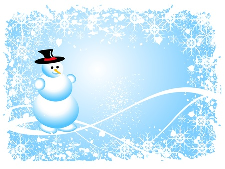 A sky blue christmas scene with a snowman and swirls and snowflakes Stock Vector - 8284256