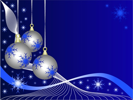 An abstract Christmas  illustration with  silver baubles on a darker backdrop with white snowflakes and room for text Vector