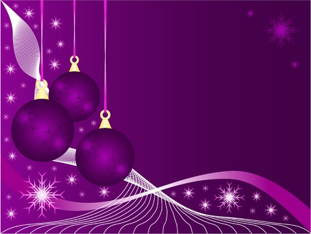 An abstract Christmas illustration with purple baubles on a lighter backdrop with snowflakes and room for text Vector