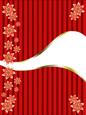 a gold floral design on a classic red striped  background with room for text Vector