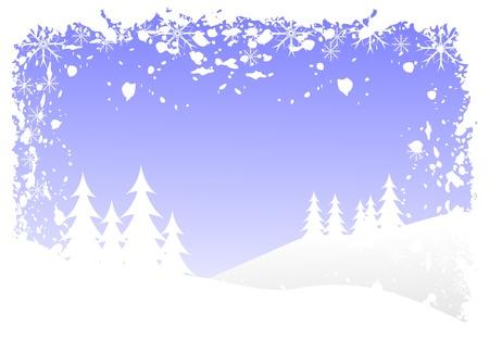 accidentado: Escena de fondo de invierno de grunge abstracto con �rboles de Navidad cubierto de nieve en un paisaje monta�oso. Vectores