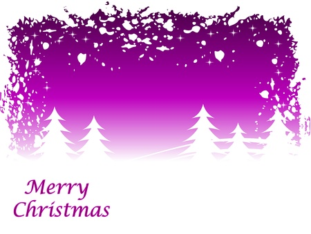 Abstract  grunge winter scene with a mauve background and snowy christmas trees. Vector