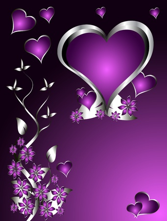 A purple hearts Valentines Day Background with silver hearts and flowers on a darker graduated background Vector